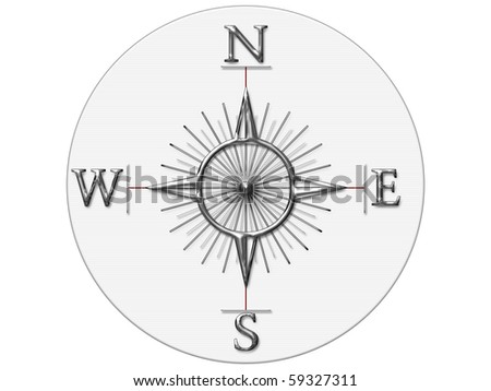 compass on white canvas - stock photo