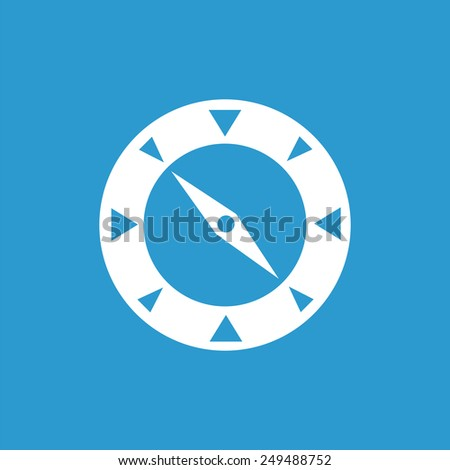 compass outline icon, isolated, white on the blue background. Exclusive Symbols  - stock photo