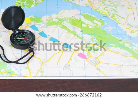compass over topographic map