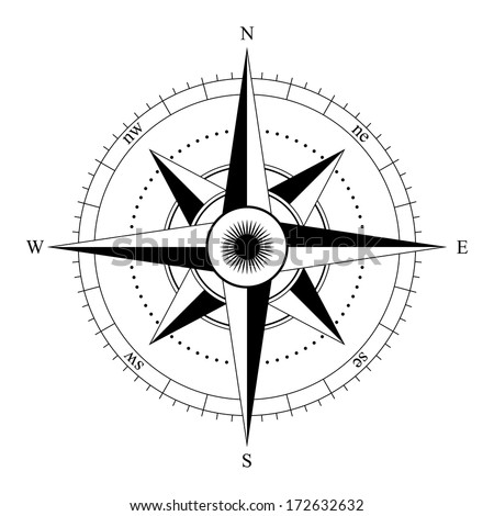 compass rose - stock photo