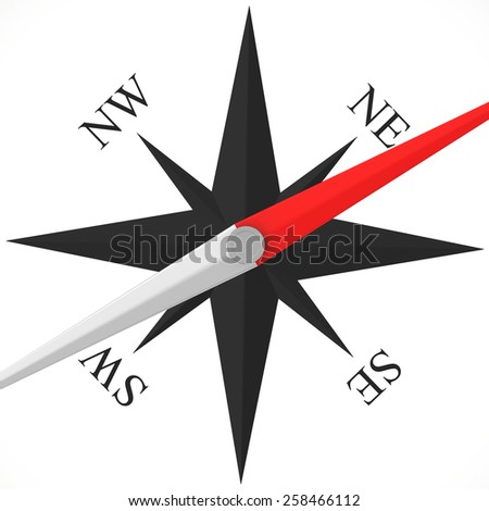 Compass rose abstract isolated on white background - stock photo