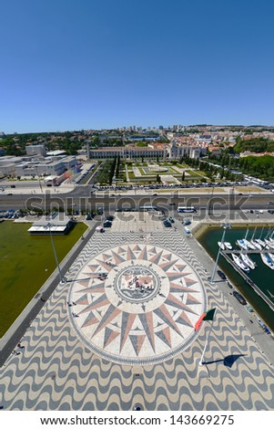 Compass Rose and Mappa Mundi in front of Monument to the Discoveries (Portuguese: Padr�£o dos Descobrimentos) and Jeronimos Monastery at Belem district, Lisbon, Portugal.