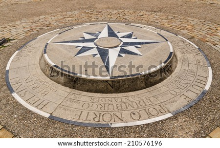 Compass rose placed on the ground in Burgos, Castile and Leon, Spain. - stock photo