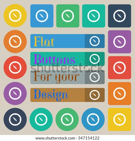 Compass sign icon. Windrose navigation symbol. Set of twenty colored flat, round, square and rectangular buttons. illustration