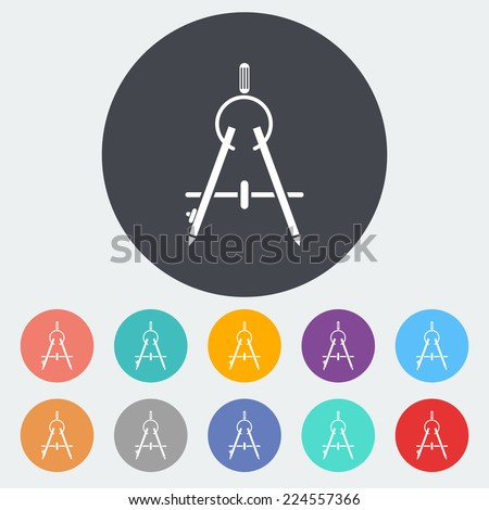 Compass. Single flat icon on the circle.  - stock photo