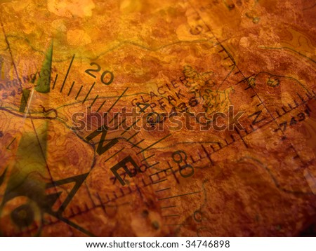 Compass superimposed on antique map  Base map is US government issue, copyright free - stock photo