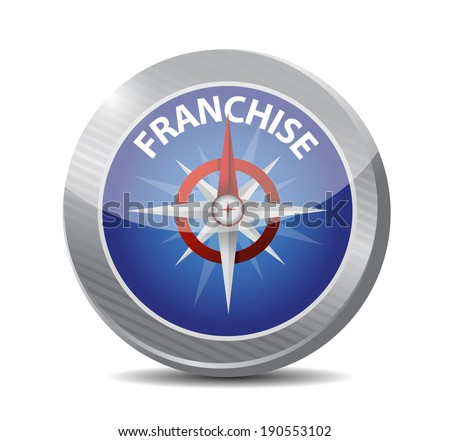 compass to a franchise owner illustration design over a white background - stock photo