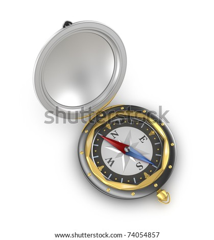 Compass. Top view. Old style. Isolated on white - stock photo