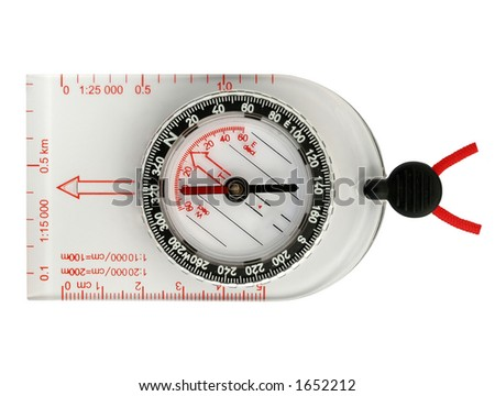Compass used in orienteering sport, contains clipping path - stock photo