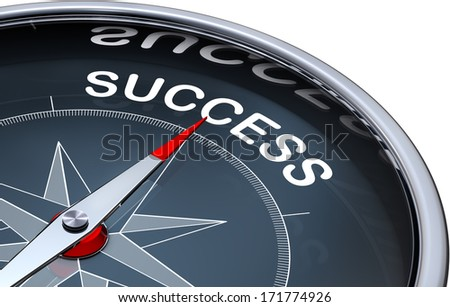 compass with a success icon - stock photo