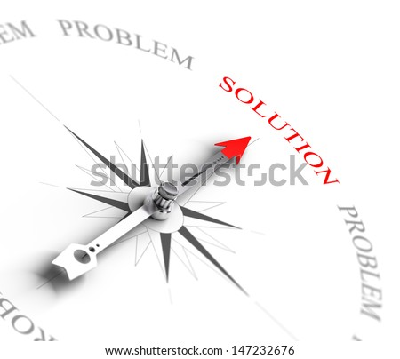 Compass with arrow pointing to the word solution vs problems. 3D render image suitable for business consulting concept, 3D render with depth of field effect  - stock photo