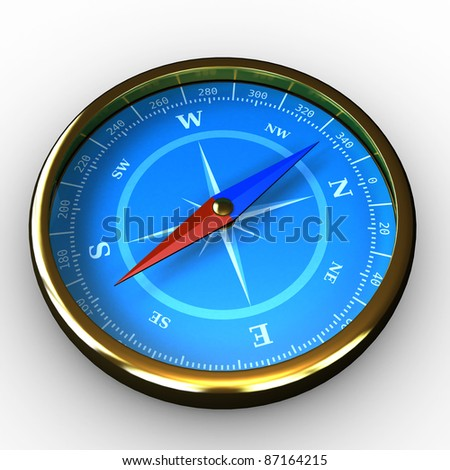 Compass with blue dial on white background with shadow - stock photo