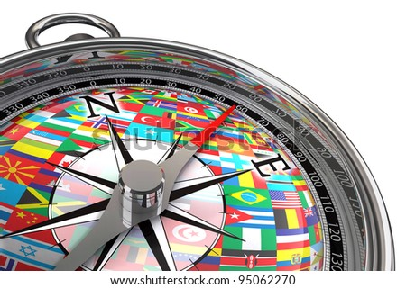 compass with flags travel concept on white background with clipping mask - stock photo