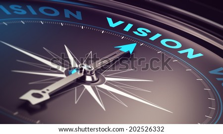 Compass with needle pointing the word vision with blur effect plus blue and black tones. Conceptual image for illustration of company or business anticipation or strategy - stock photo