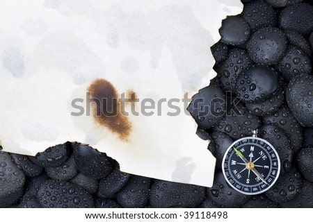 Compass with rock cover water - stock photo