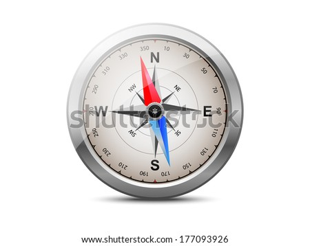 Compass with silver metal frame, raster copy - stock photo