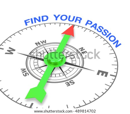 compass with the needle pointing the word find your passion. 3d rendering