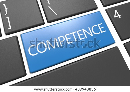 Competence - keyboard 3d render illustration with word on blue key