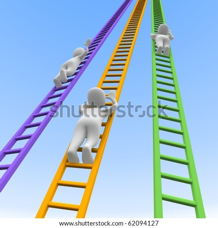 Competition and ladders. 3d rendered illustration. - stock photo