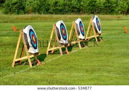 Competition Archery Targets - stock photo