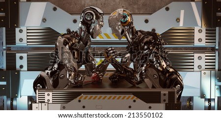 Competition in arm wrestling between two robotic characters / Man vs Woman arm wrestling - stock photo