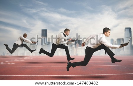 Competition in business concept with running businesspeople - stock photo