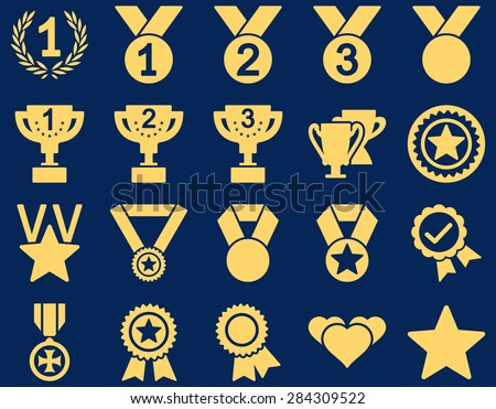 Competition & Success Bicolor Icons. This icon set uses yellow color, rounded angles, blue background.