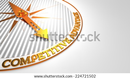 Competitive Advantage - Golden Compass Needle on a White Field Pointing. - stock photo