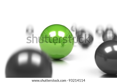 competitive edge and business difference concept, many grey balls and one green sphere onto a white background with movement effect and blur. - stock photo