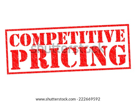 COMPETITIVE PRICING red Rubber Stamp over a white background. - stock photo