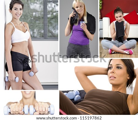 Compilation of beautiful young woman exercising and fitness training - stock photo