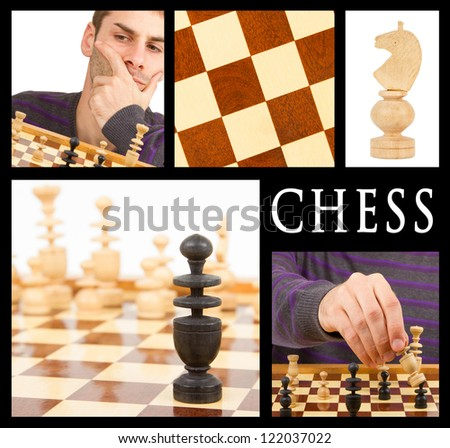 Compilation of game of chess, series of five, isolated on black - stock photo