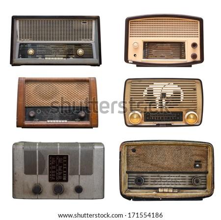 compilation of old vintage radio - stock photo