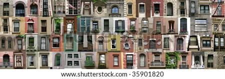 Compilation of windows (New York, America) - stock photo