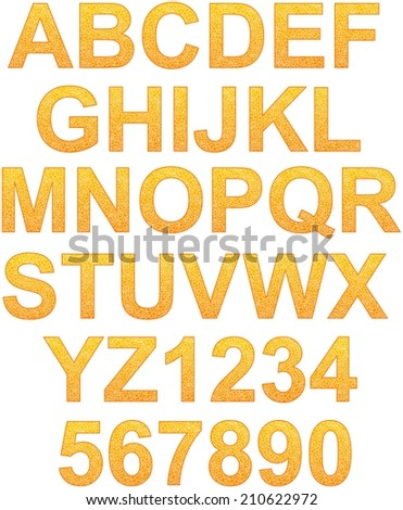Complete alphabet filled by random lines pattern - stock photo