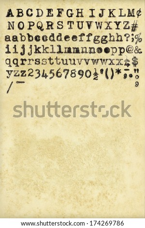 Complete alphabet from vintage typewriter and weathered paper - stock photo