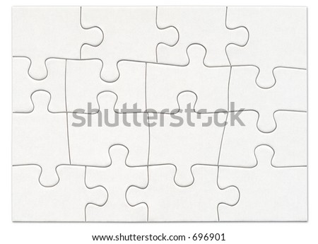 Complete blank white puzzle - stock photo