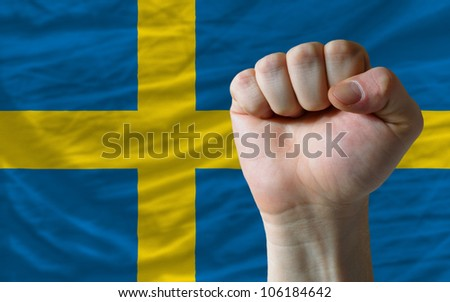 complete national flag of sweden covers whole frame, waved, crunched and very natural looking. In front plan is clenched fist symbolizing determination - stock photo