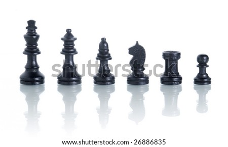 complete set of chess pieces isolated on white with reflection - stock photo