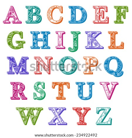 Complete set of colorful antiqua uppercase alphabet letters with floral patterns and drop shadows in the colors of the spectrum, design element