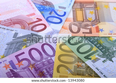 Complete set of european banknotes from 5 to 500 hundred euros