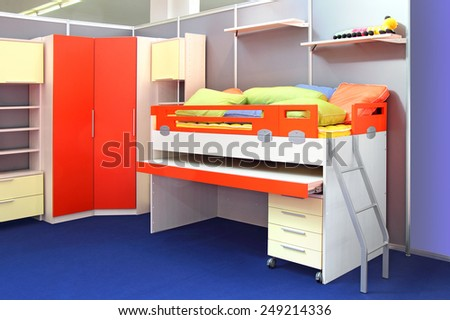 Complete set of furniture for children's bedroom - stock photo