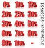 Complete set of red percent tags for sales and discounts, price tags with minus - stock photo