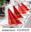 complete set of white ware, dinner service with Red napkin - stock photo