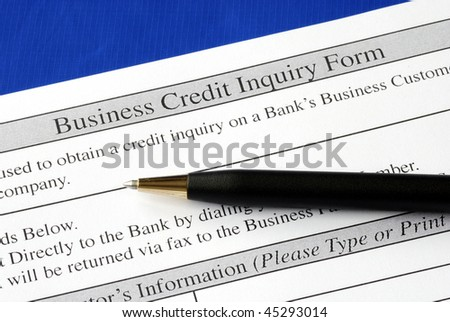 Complete the credit inquiry form isolated on blue