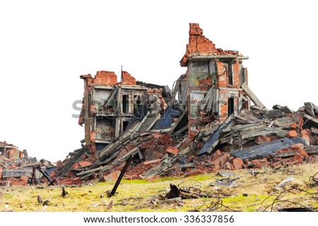 Completely ruined brick building - stock photo