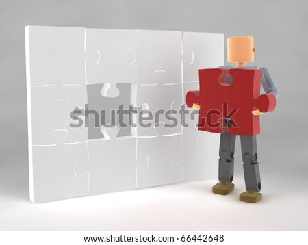 Completing a puzzle/ finding a solution (video also available) - stock photo