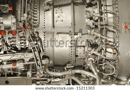 complex jet engine close-up - stock photo