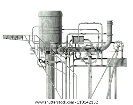 Complex machine with gears and pipes. Front view - stock photo