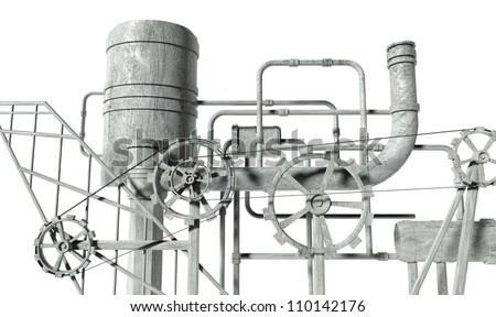 Complex machine with gears and pipes on white background - stock photo